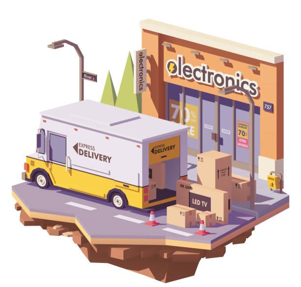 ilustrações de stock, clip art, desenhos animados e ícones de vector low poly delivery van - online shopping