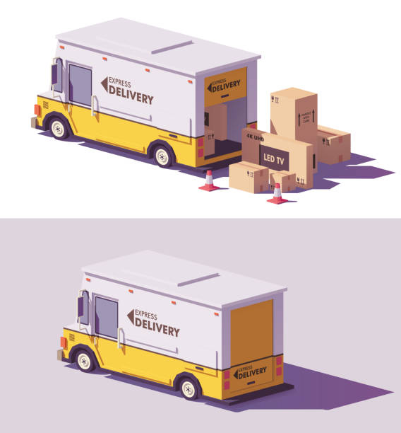 vector low poly delivery van - delivery van stock illustrations, clip art, cartoons, & icons