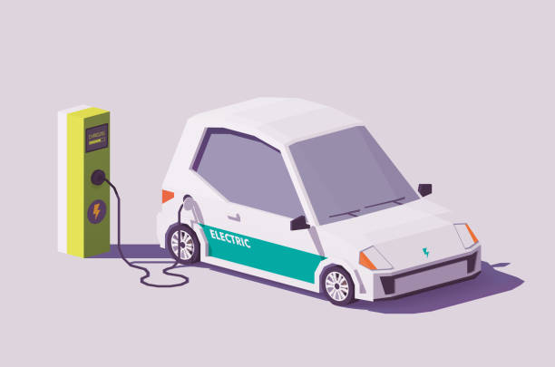 Vector low poly electric car Vector low poly electric car and electric vehicle charging station electric vehicle charging station stock illustrations