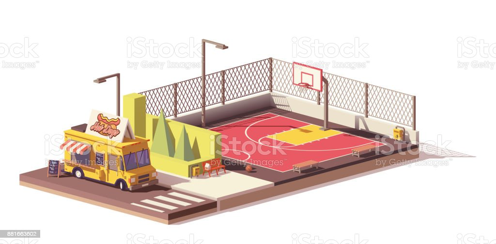 Vector low poly food truck and basketball court vector art illustration