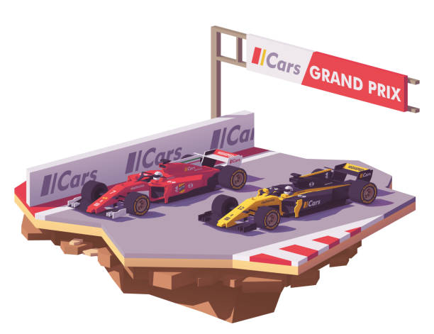 vector low poly formula race - formula 1 stock illustrations