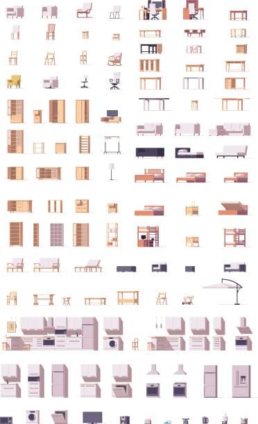 Ensemble de meubles de vecteur low poly - Illustration vectorielle