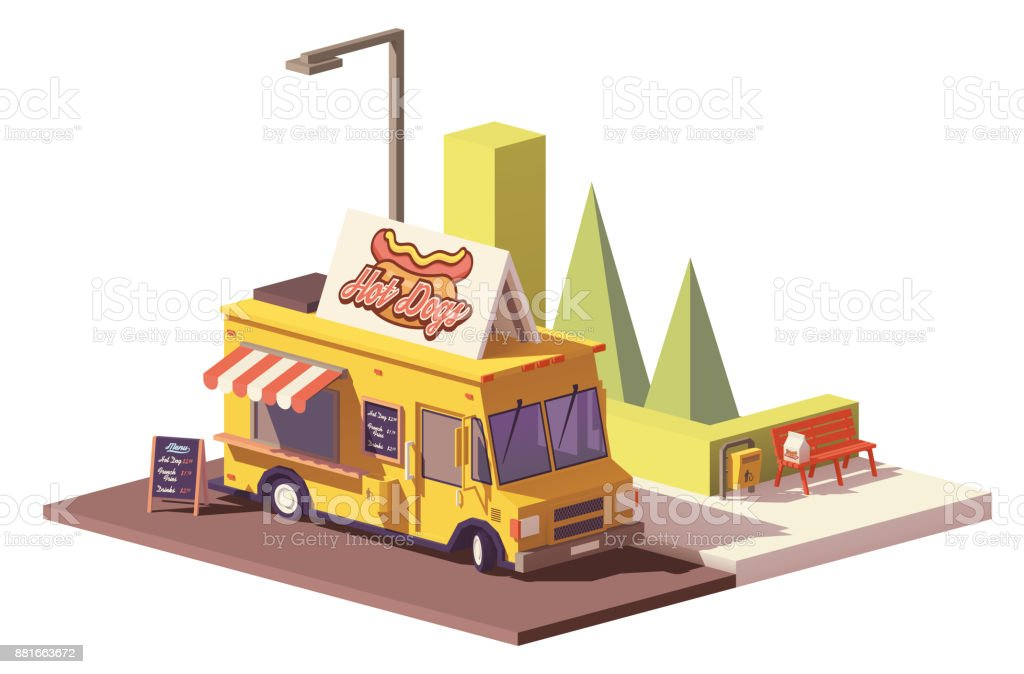 Vector low poly hot dog food truck vector art illustration