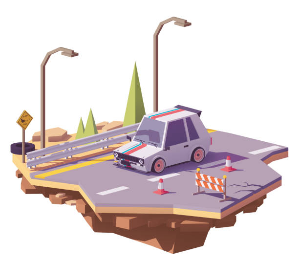 Vector low poly hot hatch on the highway Vector low poly classic hot hatch with performance upgrades on the highway hatchback stock illustrations