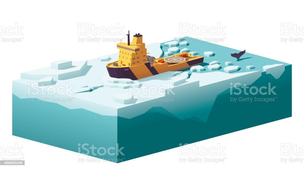 Vector low poly icebreaker breaking the ice vector art illustration