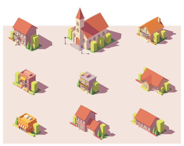 Vector low poly isometric buildings set Vector low poly isometric city buildings, houses and stores set church stock illustrations