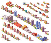Vector low poly isometric modern and old city buildings, houses and stores set