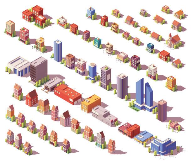 wektor niski poliizometryczny zestaw budynków - rzut izometryczny stock illustrations