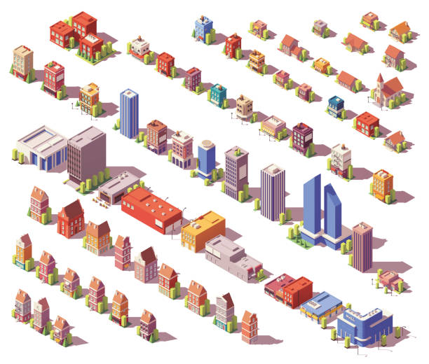 Vector low poly isometric buildings set Vector low poly isometric modern and old city buildings, houses and stores set town stock illustrations