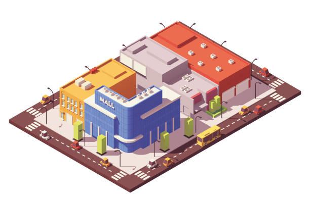 ilustrações, clipart, desenhos animados e ícones de quarteirão isométrica poli baixo vector - shopping