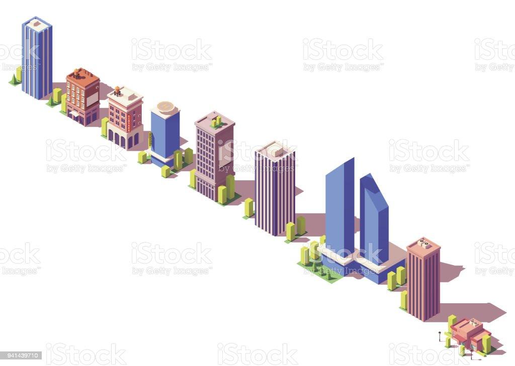 Set de bâtiments modernes isométrique Vector basse poly - Illustration vectorielle