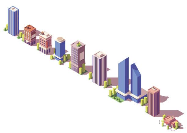 illustrations, cliparts, dessins animés et icônes de set de bâtiments modernes isométrique vector basse poly - nouveau foyer