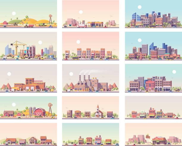 Vector low poly landscapes set Vector low poly landscapes set. Includes city, small town, factory, warehouse, countryside, construction site, gas station and restaurant town stock illustrations