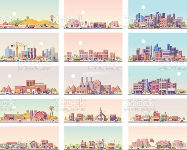 Vector low poly landscapes set. Includes city, small town, factory, warehouse, countryside, construction site, gas station and restaurant