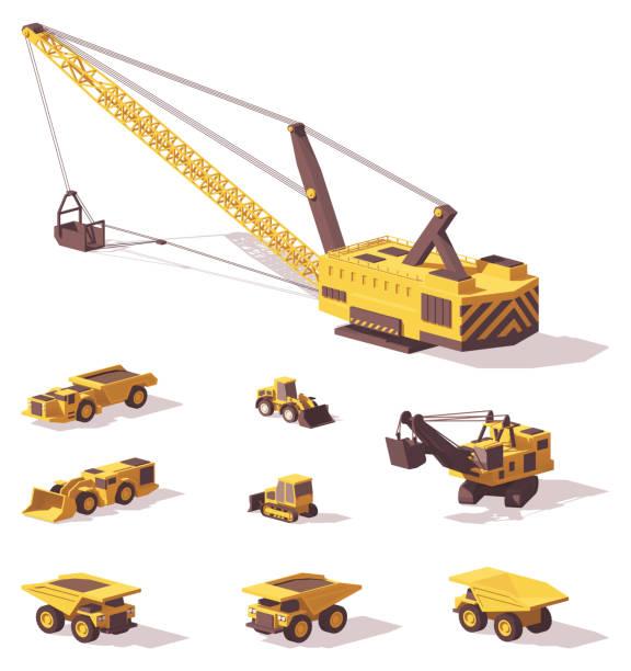 stockillustraties, clipart, cartoons en iconen met vector laag poly mijnbouw machines - shovel