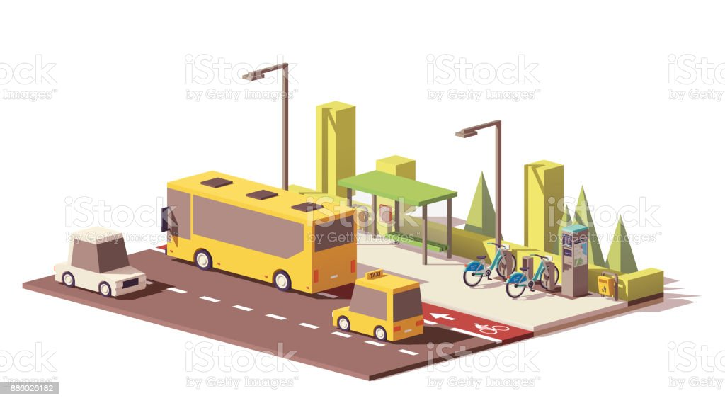 Vector low poly modern public transport vector art illustration