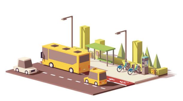 Vector low poly modern public transport vector art illustration