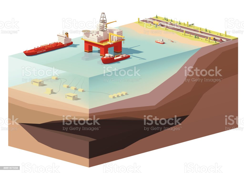 Vector low poly offshore oil rig drilling platform vector art illustration