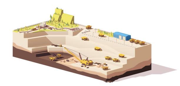 bildbanksillustrationer, clip art samt tecknat material och ikoner med vector låg poly dagbrott kolgruva - mining