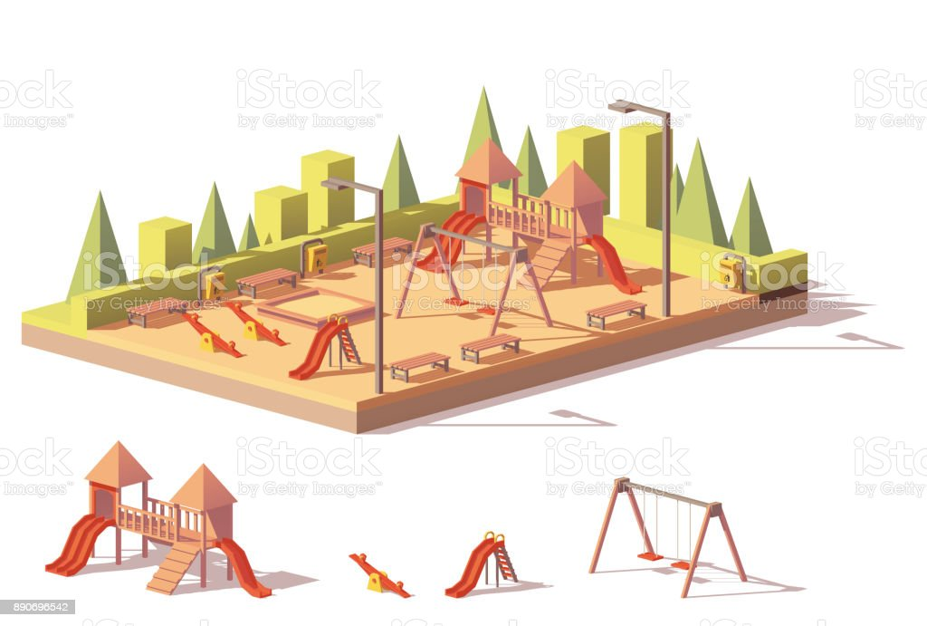 Vector low poly playground vector art illustration