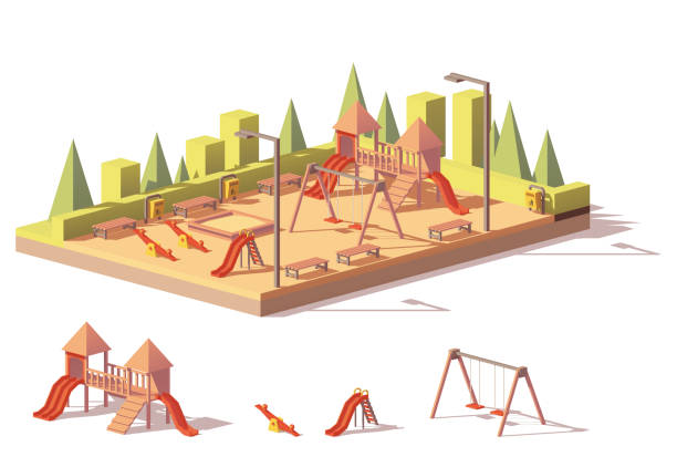 vector low poly playground - recess stock illustrations, clip art, cartoons, & icons
