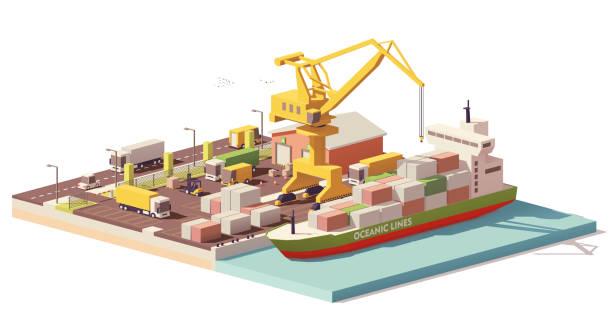 ilustrações de stock, clip art, desenhos animados e ícones de vector low poly port container terminal and ship - porto