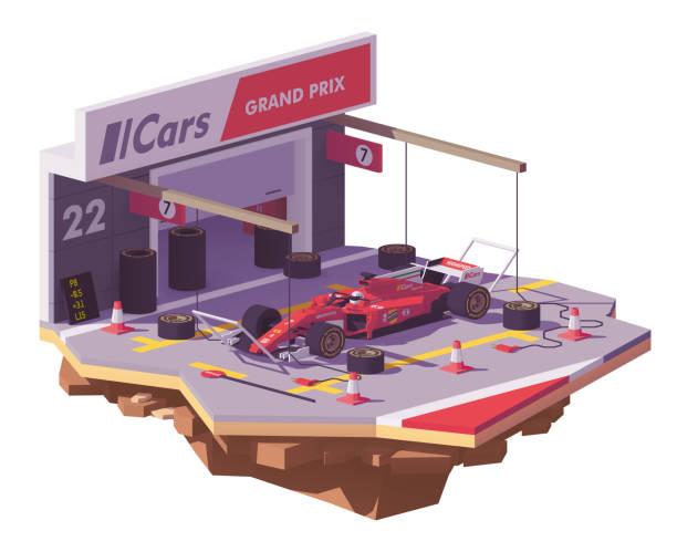 向量低聚賽車與進站車 - formula 1 幅插畫檔、美工圖案、卡通及圖標