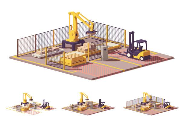vektor low-poly palettieren roboterzelle - frachtpaletten stock-grafiken, -clipart, -cartoons und -symbole