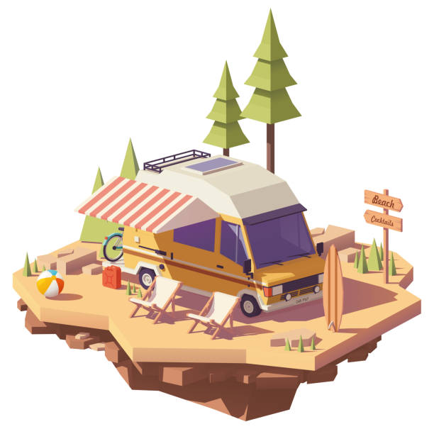 Vector low poly RV camper van Vector low poly classic station RV camper van on the seaside camping with deckchairs and surfing board rv interior stock illustrations