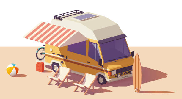 Vector low poly RV camper van Vector low poly classic station RV camper van, deckchairs and surfing board rv interior illustrations stock illustrations