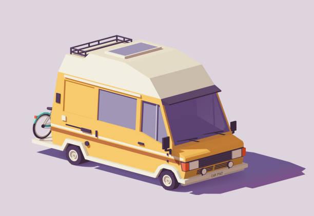 Vector low poly RV camper van Vector low poly classic station RV camper van rv interior stock illustrations