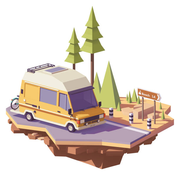 Vector low poly RV camper van Vector low poly classic station RV camper van on the road rv interior stock illustrations