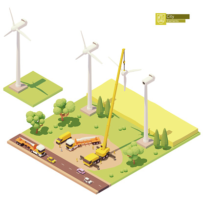 Vector low poly wind turbines farm construction