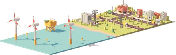 Vector low poly wind turbines power plant Vector low poly wind turbines power plant infrastructure. Includes offshore wind farm, power lines and city transformer stock illustrations