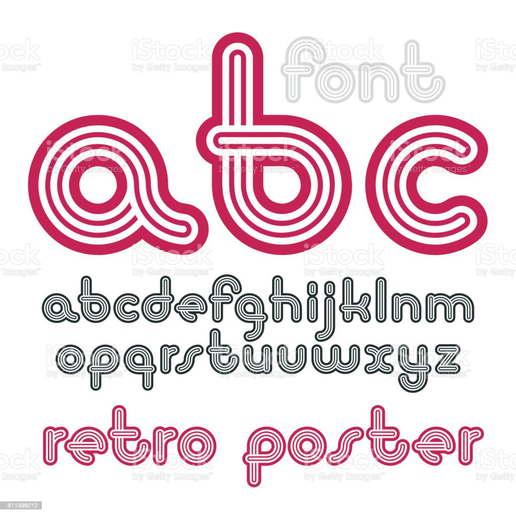 Vector lowercase funky disco alphabet letters set. Trendy font, typescript for use in logo creation. Created using geometric triple stripes. vector art illustration