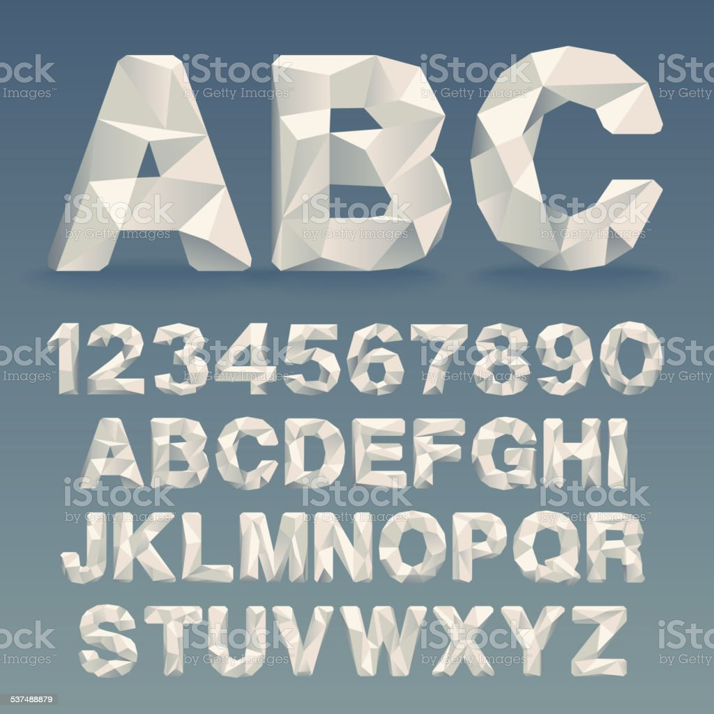 Vector Lowpoly Font vector art illustration