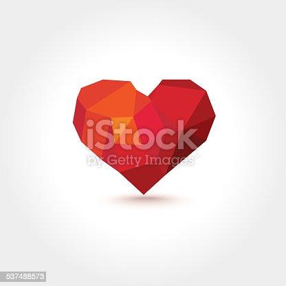 Vector Lowpoly Geometric Mosaic Heart