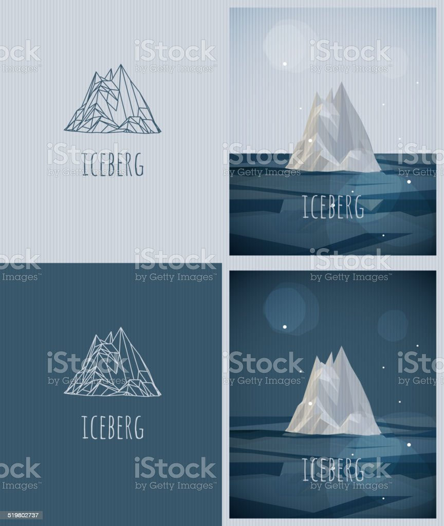 vector low-poly iceberg. poster and logo design. hipster stile vector art illustration