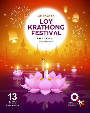 Vector Loy Krathong festival building and landmark thailand banners