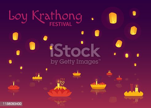Vector Loy Krathong festival poster. Traditional Thailand, Laos religious celebration with water small boats with candles and glowing lanterns. Thai festive cultural background template/