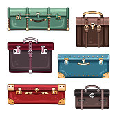 Vector luggage set of hand drawn suitcases