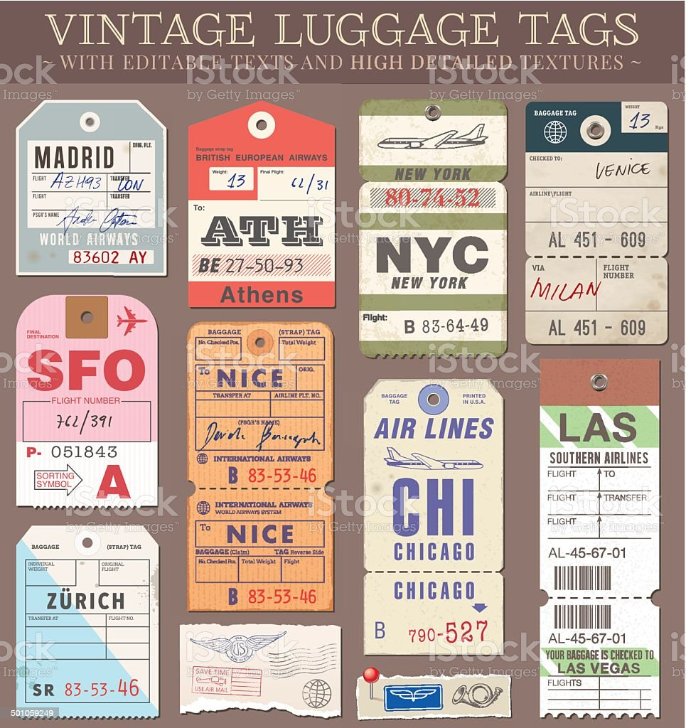 Vector Luggage Tags vector art illustration