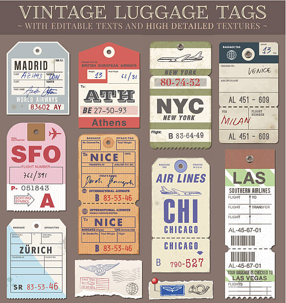 Vector Luggage Tags A set of high detail grunge Passport and Luggage Tags, Tickets and stamps. Vector file is EPS v.10. Transparency effects are present. Vector file is organised with layers, with every element separated from text elements to make editing easier. airport silhouettes stock illustrations