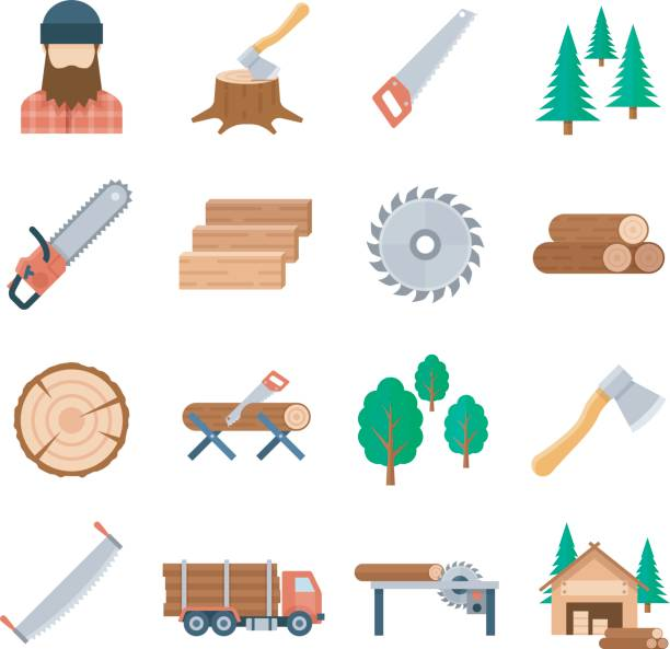 Vector lumberjack icons set in flat style Vector lumberjack icons set in flat style on white background. Tools and equipment of the lumberjack to tree cutting and harvest timbe. Icons of the wood industry and woodworking. electric saw stock illustrations