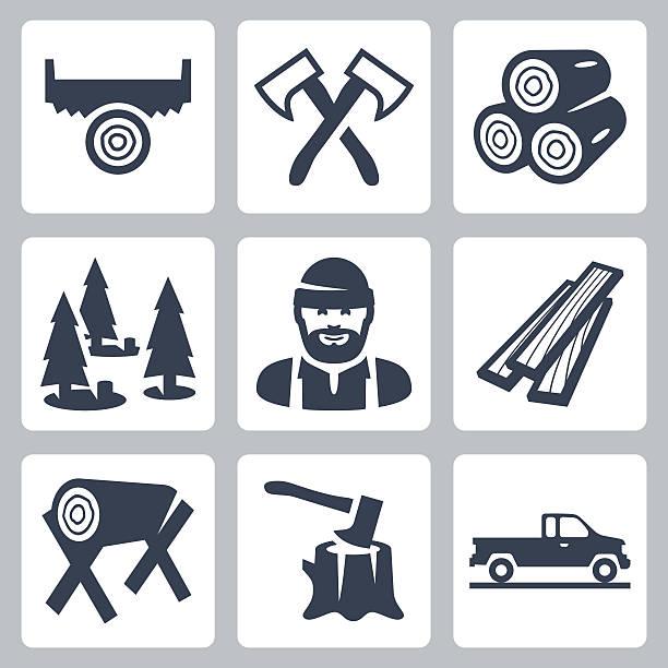 Vector lumberjack icons set Vector lumberjack icons set woodland stock illustrations
