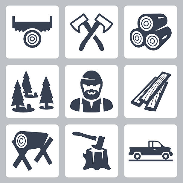 stockillustraties, clipart, cartoons en iconen met vector lumberjack icons set - plank timmerhout