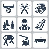 Vector lumberjack icons set