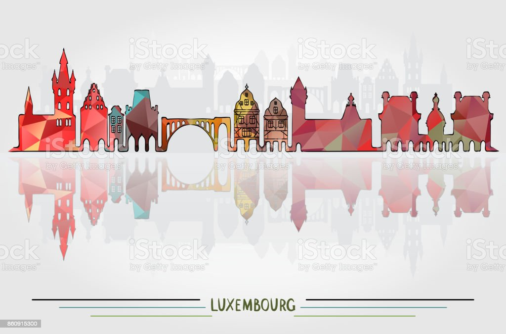 Vector Luxembourg City background vector art illustration