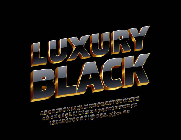 vector luxury black and gold alphabet letters, numbers and symbols - трёхразмерный stock illustrations