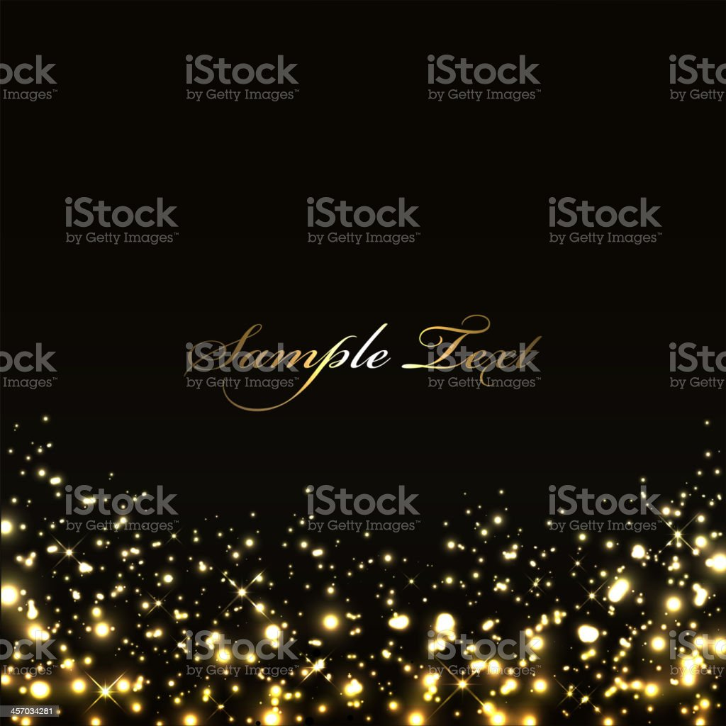 Vector luxury black background with gold lights vector art illustration